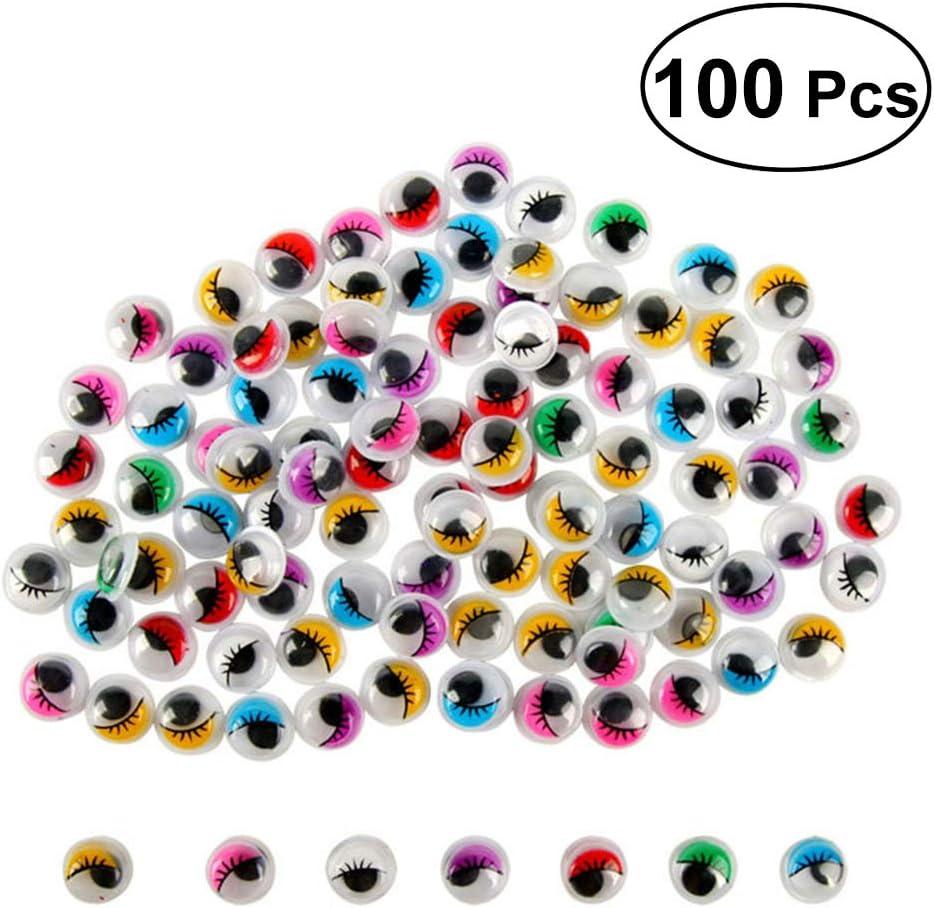 NUOBESTY 100 Unids 15mm Ojos Wiggly con pestañas Autoadhesivas para Decoraciones de Manualidades Creativas de Animales DIY