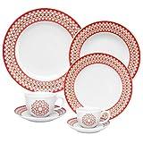 Oxford 7891361984626 42 Piece Flamingo Dinnerware Set, Fleur Des Lis