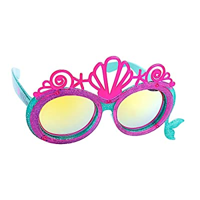 Sun-Staches Disney Princess Little Mermaid Ariel Lil' Characters Shell Crown Sunglasses, Instant Costume Character Party Favor Shades UV, One Size (SG3713) Pink, Blue: Toys & Games