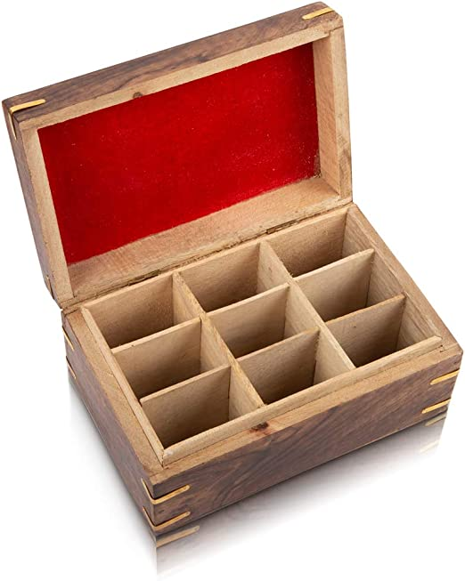 6 Compartments Wooden Rustic Tea Storage Box Container Chest w Heart Pattern