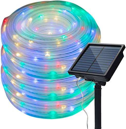 Honche Solar Rope Lights Outdoor Waterproof Led Tube String Lights Chain for Wedding Patio Garden Multi Color 33FT 100L