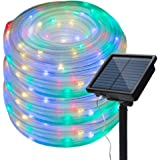 Honche Solar Rope Lights Outdoor Waterproof Led Tube String Lights Chain for Wedding Patio Garden (Multi Color 33FT 100L…
