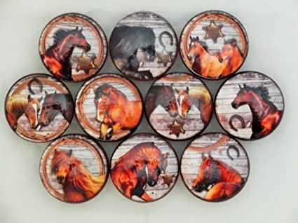 Set Of 10 Barn Wood Horse Cabinet Knobs