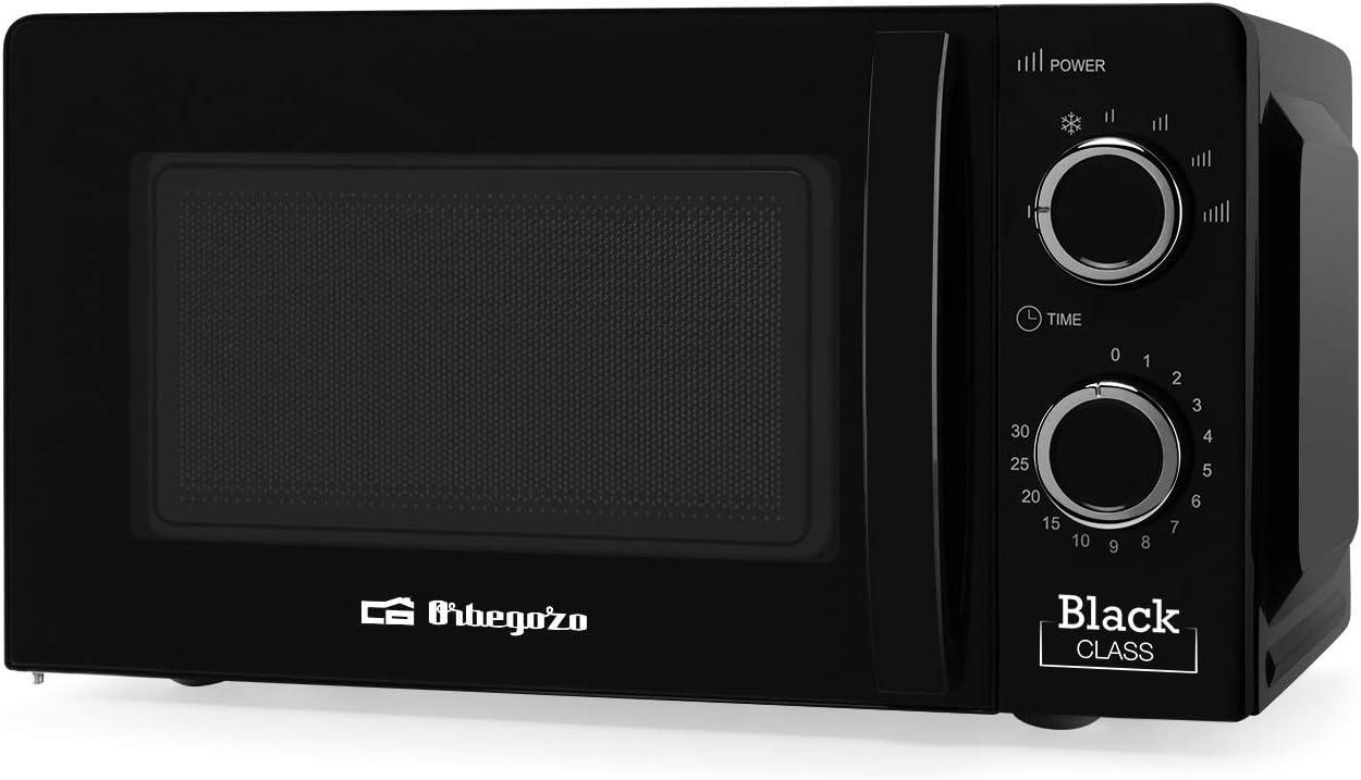 Orbegozo 17543 Microondas con 20 litros de capacidad, 6 niveles de funcionamiento, temporizador hasta 30 minutos, 700 W de potencia, Negro