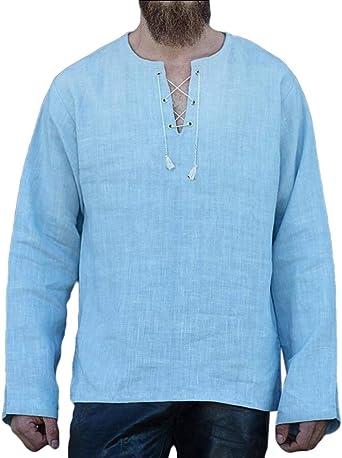 ShuangRun - Camisa Informal de Manga Larga con Cordones, para Hombre, diseño de Jacobite Ghillie: Amazon.es: Ropa y accesorios