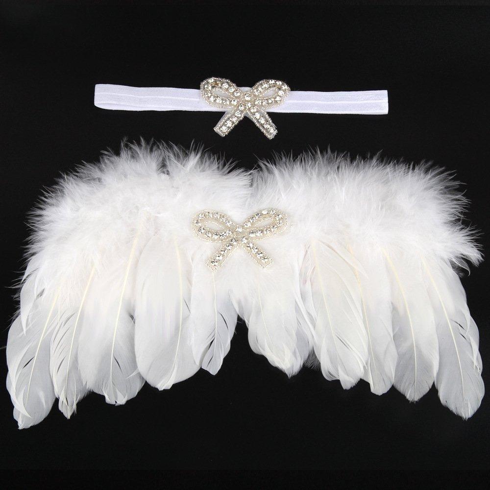 UGUAX Baby Angel Wings fotografia puntelli per neonati fascia per capelli carino foto di rosa