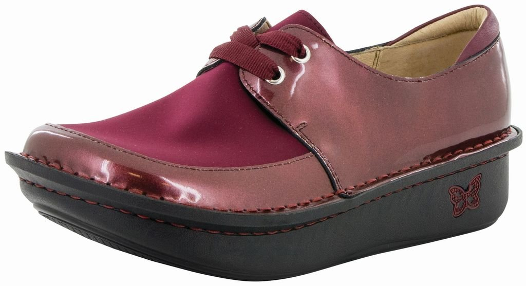 Alegria Womens Dani Lace-Up Clog Wine Glitter Patent Size 42 EU (11.5-12 M US Women)