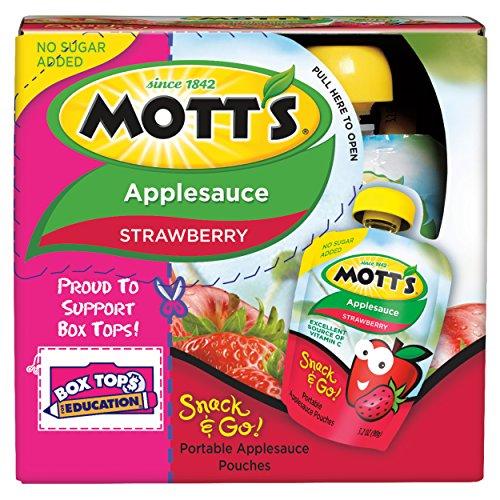 Mott's Snack & Go Strawberry Applesauce, 3.2 oz pouches (Pack of 24)