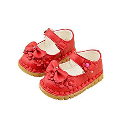 Optimal Girls Summer Fashion Princess Flower PU Leather Flat Velcro Toddlers Shoes