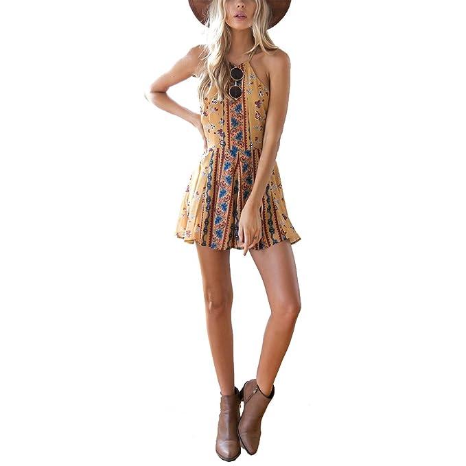 7aa81836fefd Amazon.com  Leezeshaw Womens Summer Sexy Halter Retro Short Pants Sleeveless  Jumpsuit Playsuit  Clothing