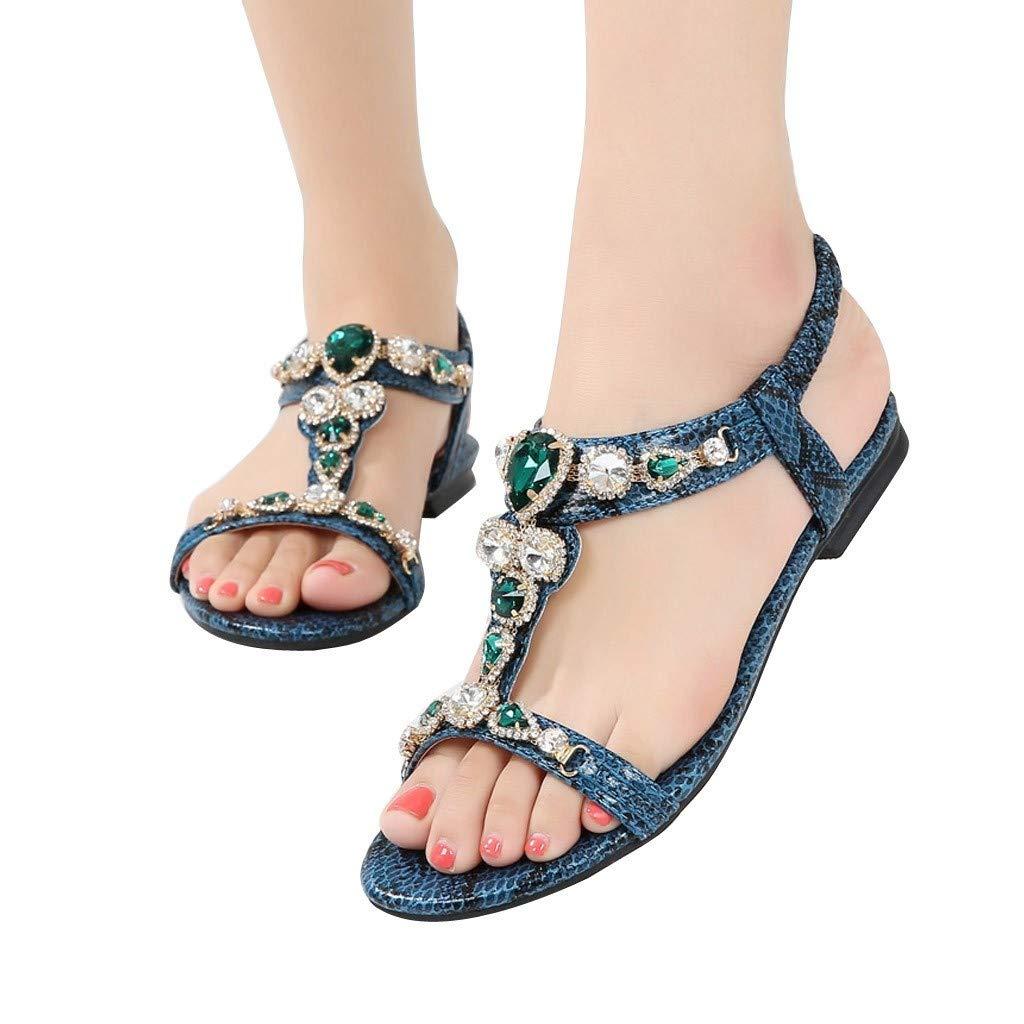 Ladies Sandals Bummyo Women Flat Open Toe Sandals Ethnic Roman Shoes Rhinestone Beading Snake Casual Sandals Shoes (10M US, Green)