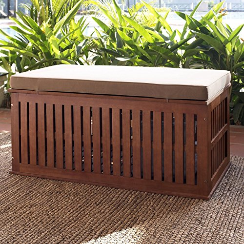 Coral Coast Parkway 47 in. Outdoor Wood Storage Deck Box with Cushion by Coral Coast