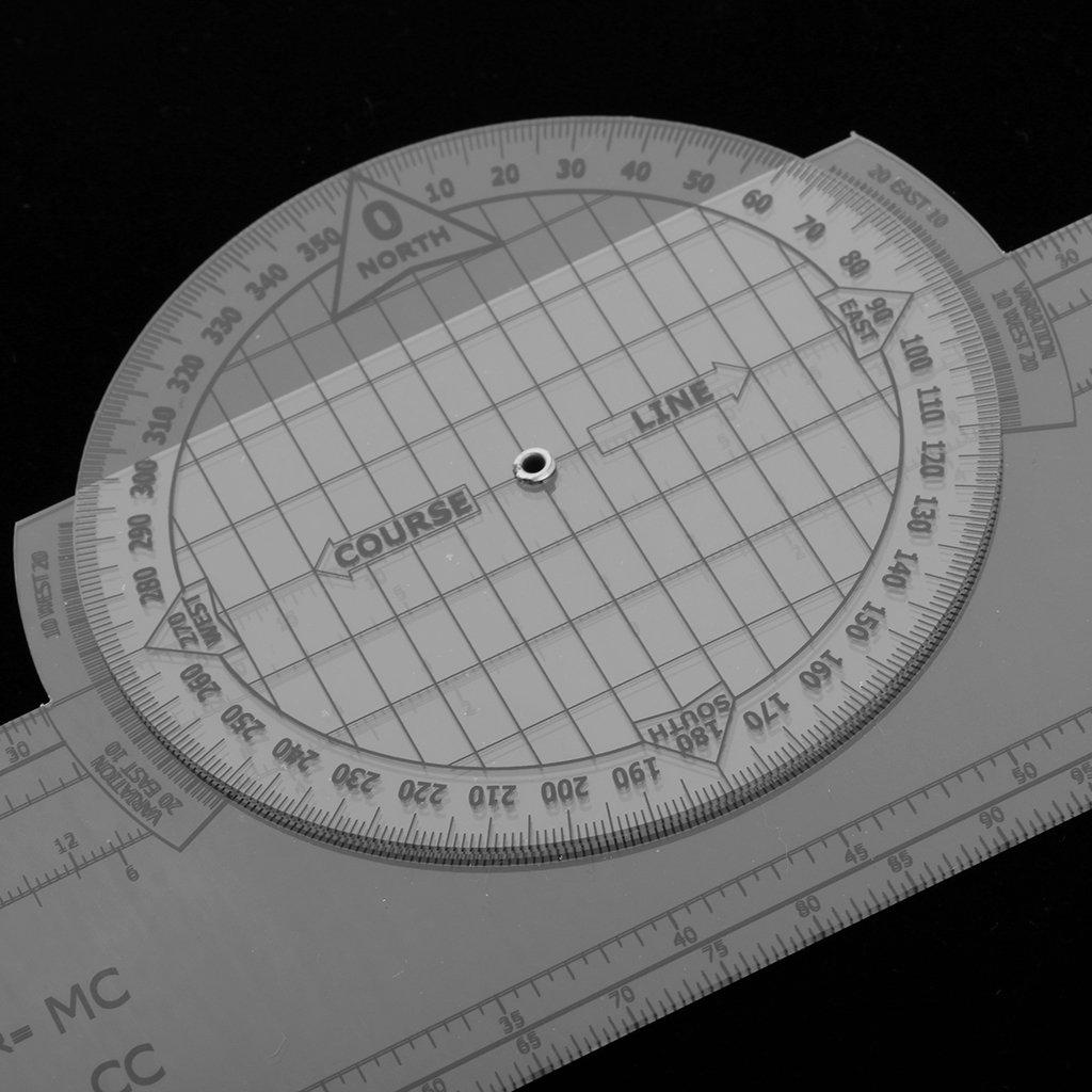 MagiDeal 13.2 x 2.4 Pulgadas Plotter Giratorio Rotatorio de Plástico para Trazado Navegación Herramienta de Entrenamiento de Vuelo