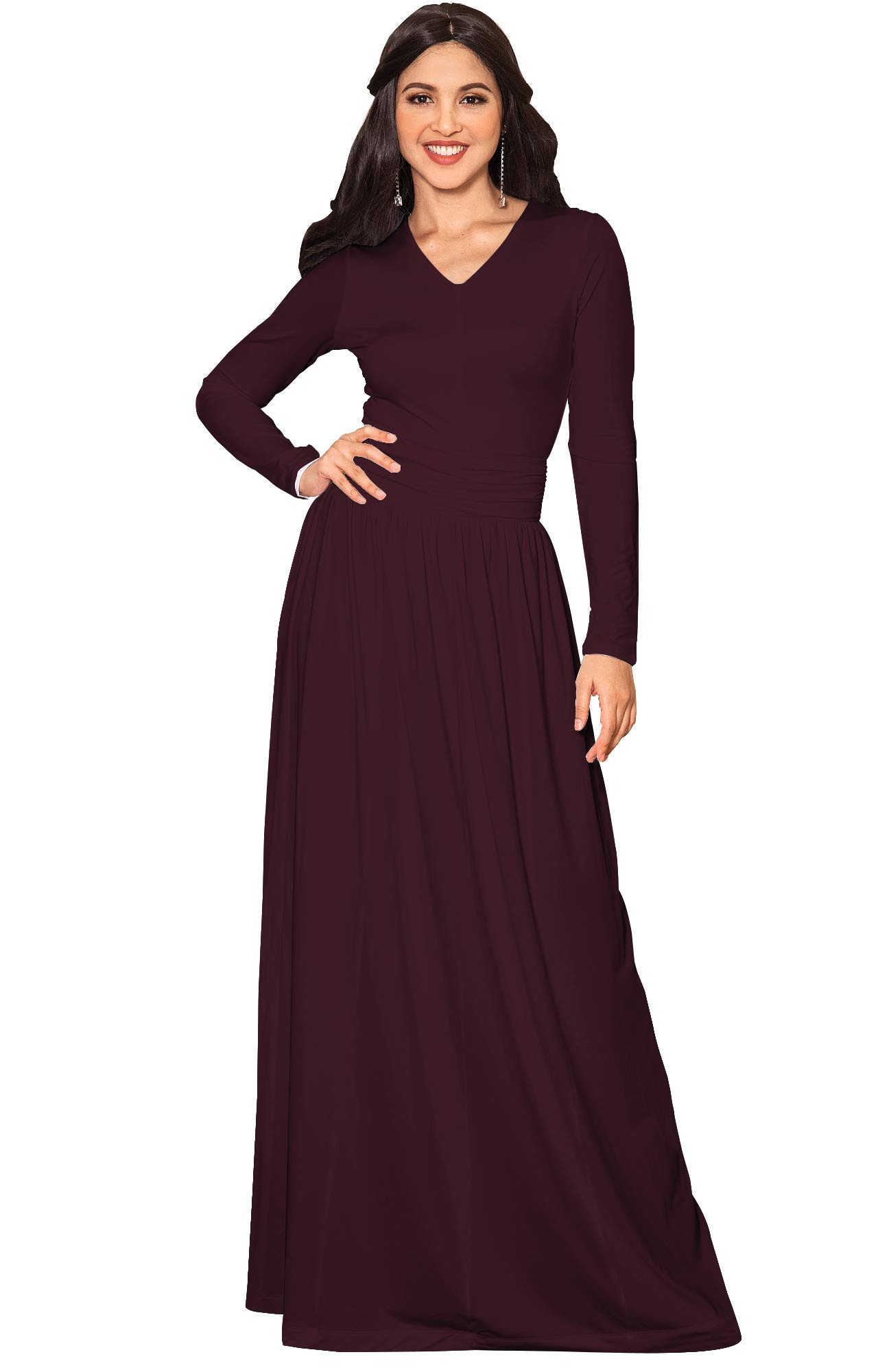 1e326aa3305 KOH KOH Petite Womens Long Sleeve Floor Full Length V-Neck Ruched Empire  Waist Formal Fall Winter Wedding Abaya Modest Muslim Evening Gown Gowns  Maxi Dress ...