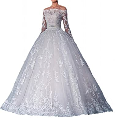 Wedding Dress Off Shoulder Lace Dress for Bride 2018 Ball Gown Long ...