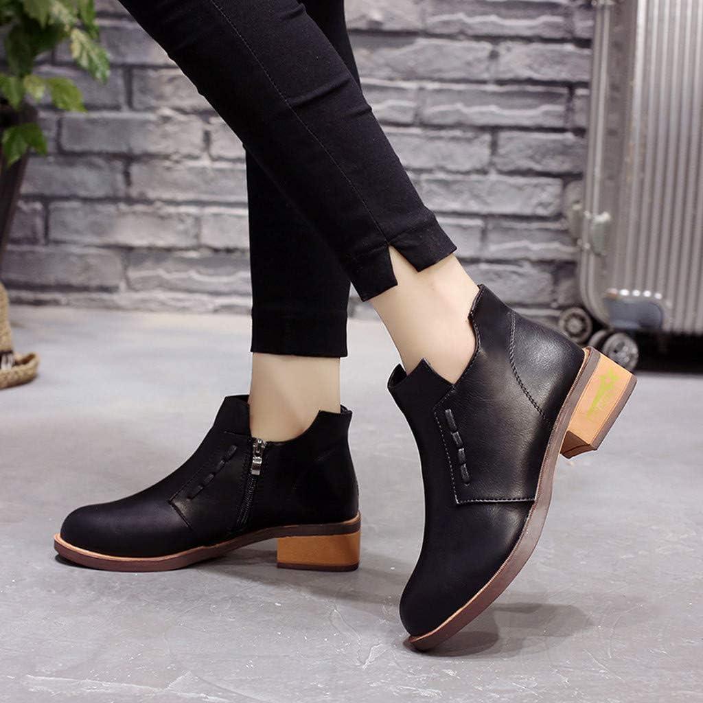 manadlian Bottines Hiver Femmes Chaussures Plates Ville Talons Plats Boots Chelsea Automne Fourrure Bottes de Neige Classiques Bottes en Cuir Ankle Boots Shoes Noir