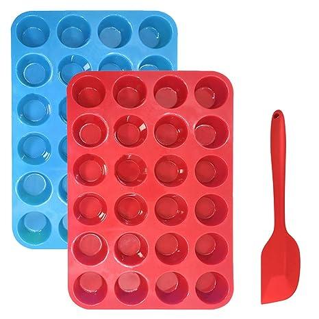 Bandeja para muffins Cupcakes de silicona Bono de molde con espátula, Sourceton Paquete de 3
