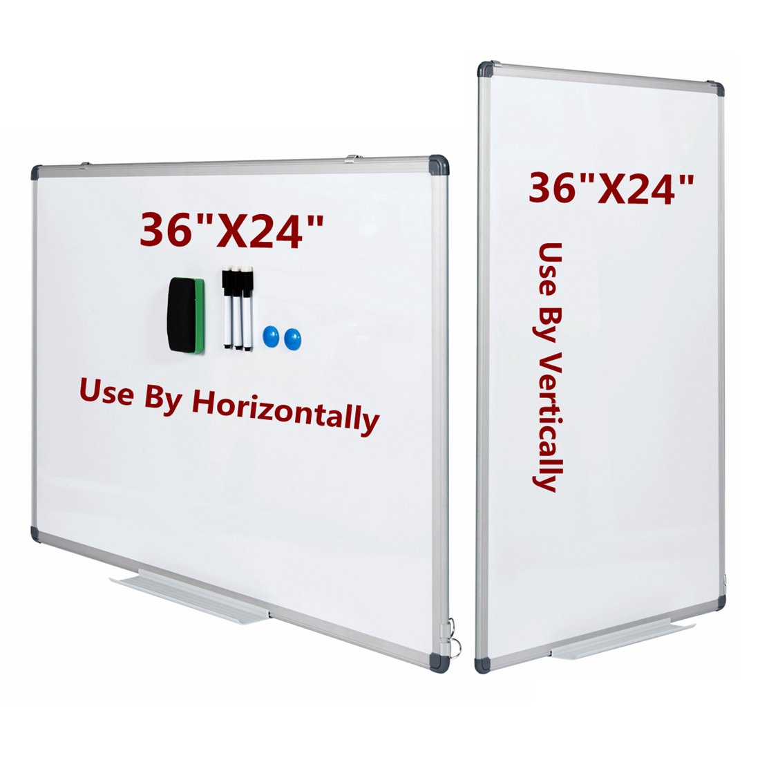GOOD LIFE 36'' x 24'' Horizontal & vertical compatible Dry Erase Board Magnetic Markers Aluminum Frame Whiteboard Set for Office and Classroom (Includes 3 x Pen & Pen Tray, 2 x Magnets & Eraser,1x Bubbl