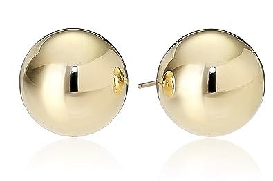 amazon com 14k yellow gold 10mm ball stud earrings ball earrings