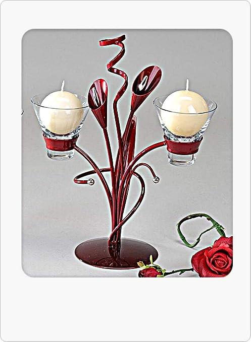Moderner Kerzenständer aus Metall und Glas Aida-bordeaux Höhe 32 cm