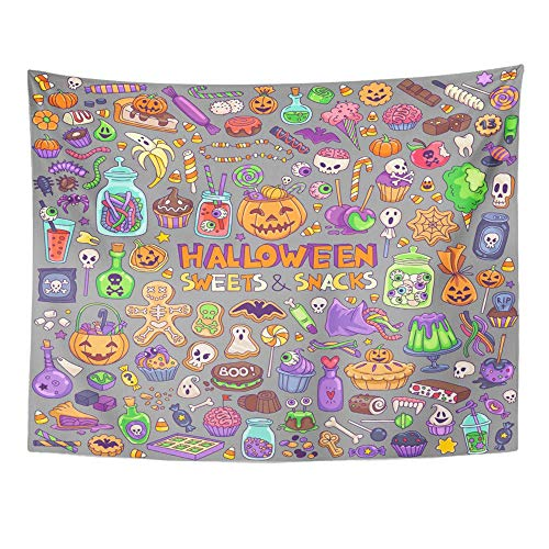 Remain Unique Tapestry Halloween Candies Sweets Snacks and Drinks for Trick Treating Kids Party Wall Hang Decor Indoor House Made in Soft]()