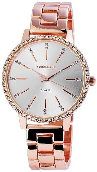Reloj mujer plata rosado. Oro Strass metal cuarzo reloj de pulsera