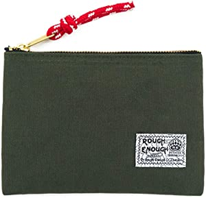 Rough Enough Canvas Pouch with Zipper Coin Purse EDC Pouch for Wallet Credit Card Holder for Women Men Boys Phone Stationary Supplies Organizer Pouch for School Travel Gear Car Essential Accessories