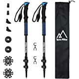 Trekking Poles Kit of 100% Carbon Fiber, Terra Hiker Walking & Running Sticks with Quick Locks, 4 Season, All Terrain Accessories and Carry Bag, Lightweight, Collapsible