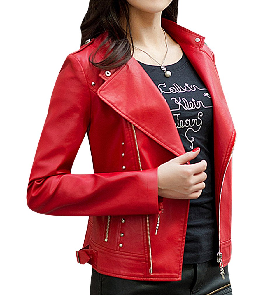 BLady Women's Riveted Diagonal Zip Turndown Collar PU Leather Mini Jacket, Red M,Manufacturer(XL) by BLady