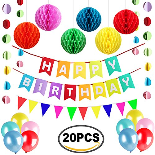 Happy Birthday Banner with Set of 6 Tissue Poms Paper Honeycomb Balls and 10 Banner Party Ballons 2 Triangular Flags and Polka Dot Paper Garland by Outee (Happy Birthday Packages)