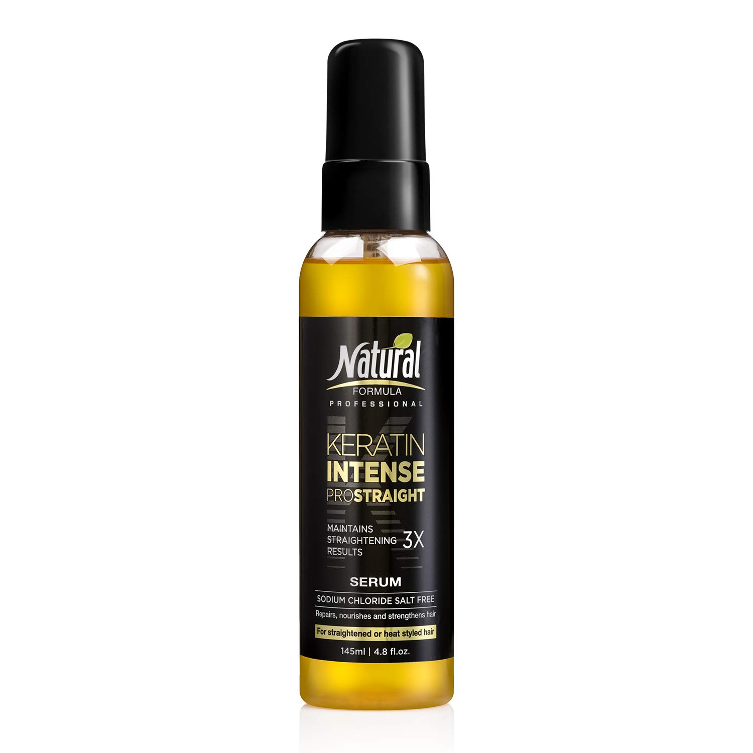 Natural Formula Keratin Intense Hair Serum – Keratin Infused Dry Damaged Hair Serum - Sodium Chloride Salt-Free Keratin Hair Serum – Hair Repair Treatment For Frizz Free Straightened Hair 4.8 fl.oz
