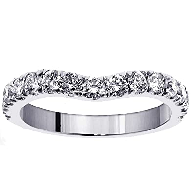 Amazon.com: 0.90 CT TW Large Diamond Wedding Band in 14k White ...
