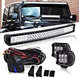Curved 30 32 INCH 180W LED Light Bar 18000LM 6000K Waterproof IP67 W/2PCS Fog Lights + 3LEAD Rocker Switch Wiring Harness for Offroad Chevrolet Silverado GMC Dodge Ram Sierra Ford F-150 Jeep Toyota Truck 12V~24V
