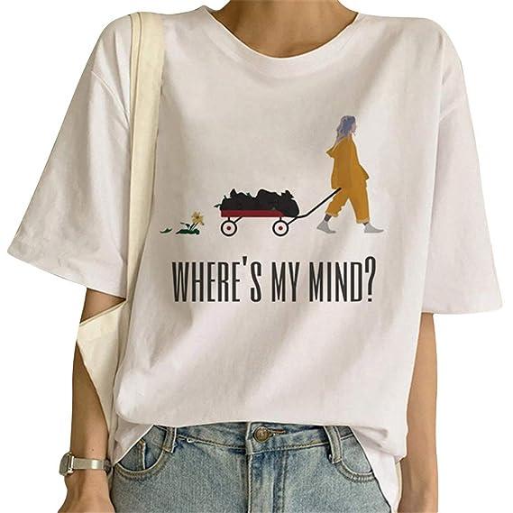 Billie Eilish T Shirts Damen Mädchen T-Shirt Kurzarm Tee When We All Fall Asleep