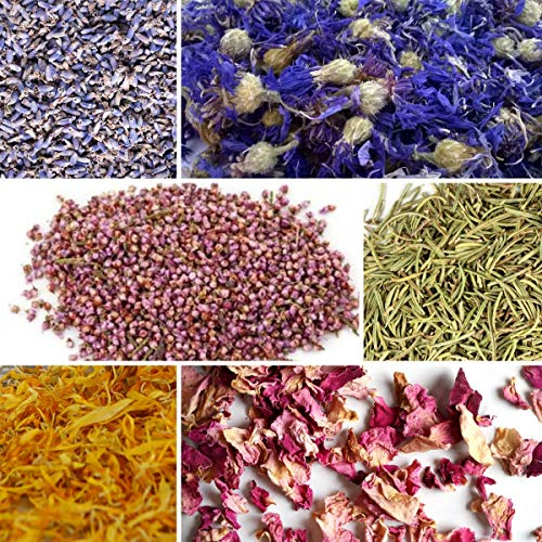 bMAKER Flower Kit 6 Packet - 1 Cup Each of Ultra Blue Lavender, Cornflower Whole, Heather Flower, Rosemary, Marigold Petals, Pink Rose Petals and 5/8 dram of Rose Absolute Essential Oil