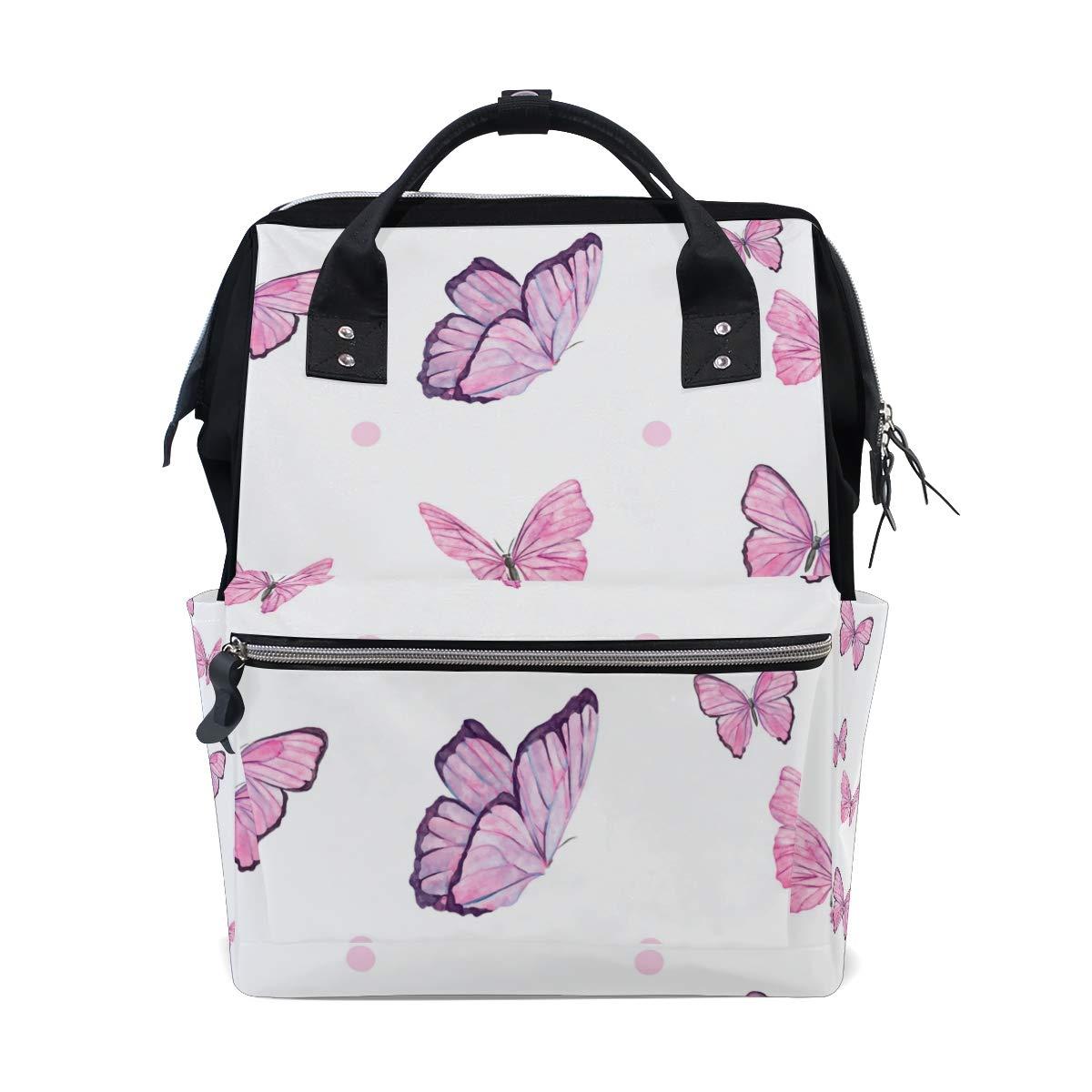 MALPLENA Daypack Pink Flying Butterfly School Bag Travel Backpack