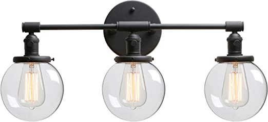 Phansthy 3 Light Wall Sconce Bathroom Vanity Light Black Sconce Light Fixture with 5.6 Inches Round Glass Canopy, Black