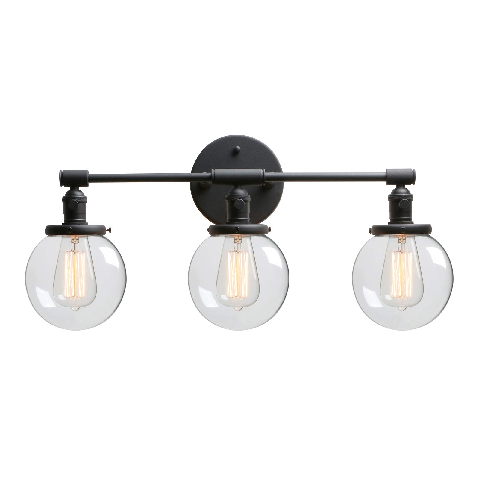 """Phansthy 3 Light Wall Sconce Bathroom Vanity Lamp Black Sconce Light Fixture with 5.6"""" Round Glass Canopy, Black"""