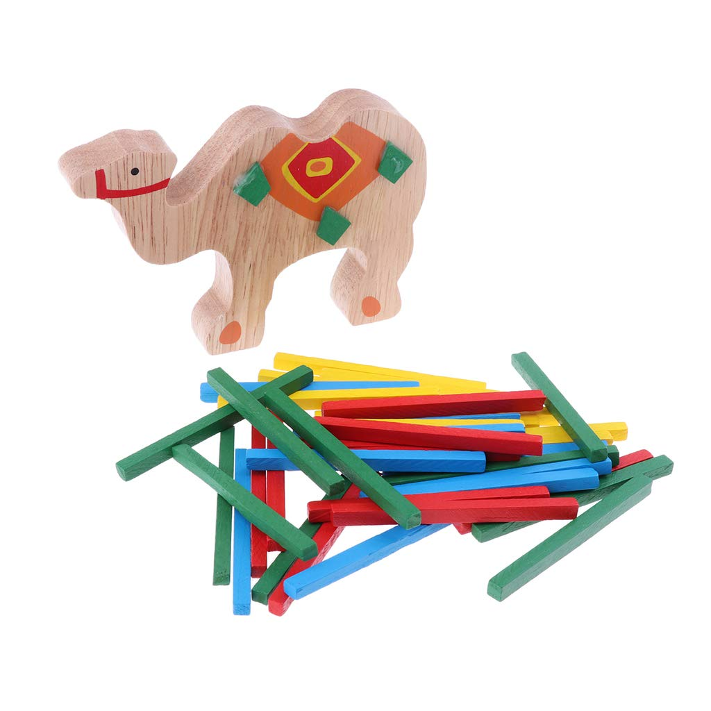 Fenteer Balancing Toy Wooden Puzzle Stacking Building Blocks Game Stack the Sticks Camel