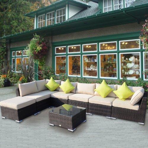 Outsunny 8pc rattan sofa garden furniture aluminium for Sofa rattan jardin