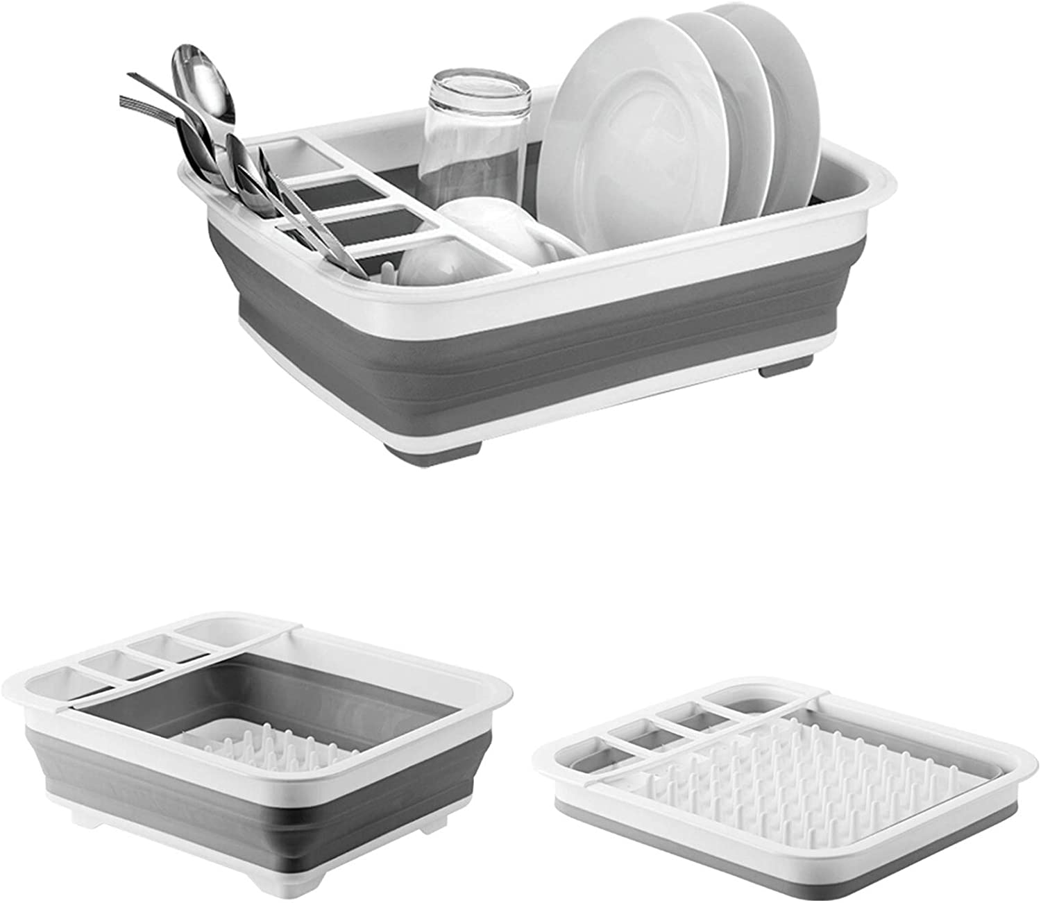 Collapsible Dish Drying Rack with Adjustable Swivel Sprout Dishes Dinnerware Basket Plates Drainer Collapsible Dish Drainers for Kitchen Counter RV Campers Motorhome