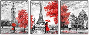 """Black and White Paris Posters Art Painting Set of 3 (8""""X10"""" ) Red Paris Theme London Big Ben Tower Eiffel Tower Wall Art Decor for Girls' Bedroom or Bathroom Art Paints Decor Canvas Paintings Unframed"""
