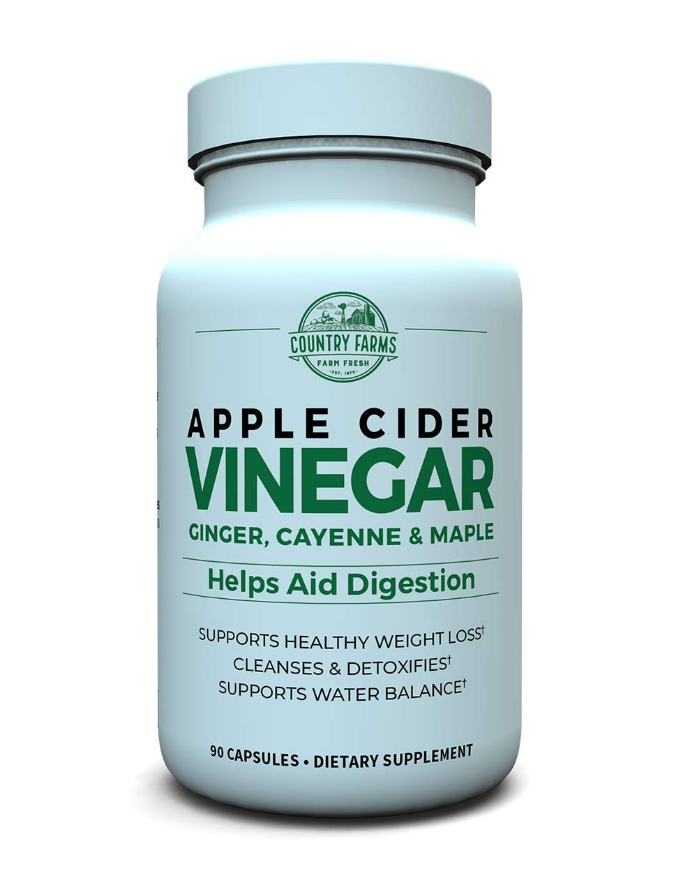 Country Farms Apple Cider Vinegar Capsules, with Ginger, Cayenne and Maple,  90 servings