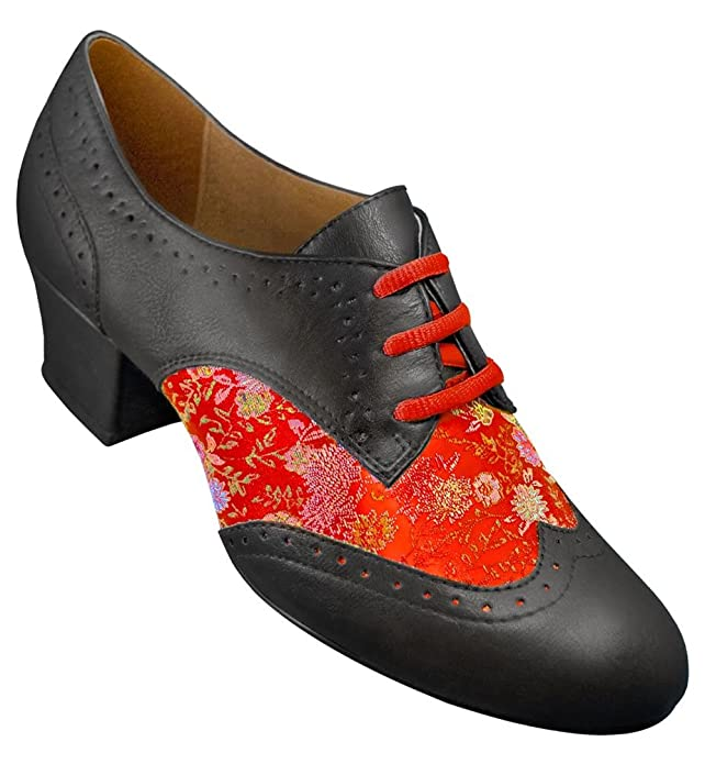Retro Style Dance Shoes Aris Allen Womens Red Brocade Spectator Oxford Wingtip Swing Shoes $48.95 AT vintagedancer.com