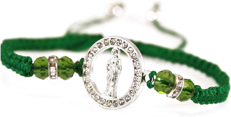 Green String Circle Of St Jude Adjustable Bracelet