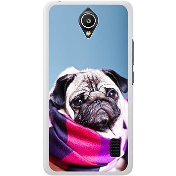 Carcasa rígida para teléfono móvil, diseño de perro de raza carlino, plástico, Pug Wrapped Up Snug, Huawei Y635