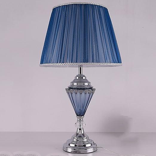 Baoduohui Lámpara de mesa de cristal azul, lámpara de escritorio ...
