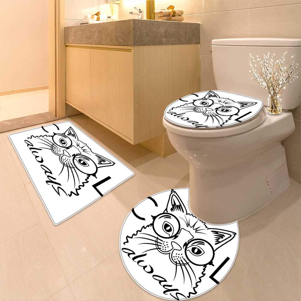 color5 14\ color5 14\ Large Contour Mat Decor Collection Cool Smart Fashion Kitty Image in Big Glasses Hipster Trendy Pet Soft Non-Slip Water