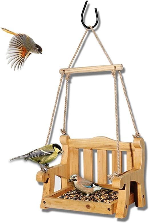 Cwwk Comedero para pájaros Jardín Decoración de jardín Madera Maciza Soporte para pájaros Columpio Estilo Alimentador: Amazon.es: Productos para mascotas