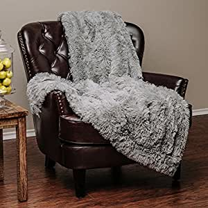 """Chanasya Super Soft Long Shaggy Chic Fuzzy Fur Faux Fur Warm Elegant Cozy With Fluffy Sherpa Tan Blue Gray Throw Blanket (50"""" x 65"""") - Solid Shaggy Slate Blue Gray"""